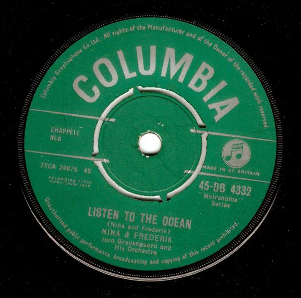 NINA AND FREDERIK Listen To The Ocean Vinyl Record 7 Inch Columbia 1959
